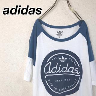 アディダス(adidas)の★アディダス★ Tシャツ トレフォイルロゴ ビッグプリント バイカラー(Tシャツ/カットソー(半袖/袖なし))