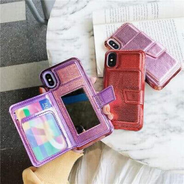 手帳式、ミラーが付いてカードも入る iPhone カバー、ケース!の通販 by happy2013|ラクマ