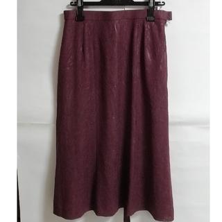 13号 ミセス夏物 美品 パープル Aラインスカート(ロングスカート)