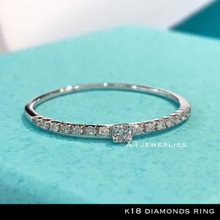 リング 18金 ダイアモンド k18 天然 ダイアモンド リング 細め (リング(指輪))