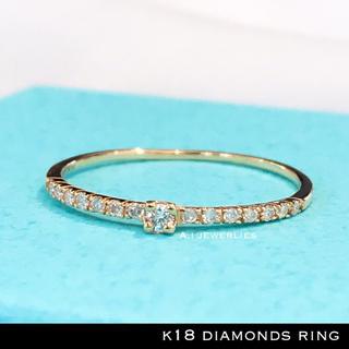 リング 18金 ダイヤモンド k18 天然 ダイヤモンド 細め イエロー 華奢(リング(指輪))