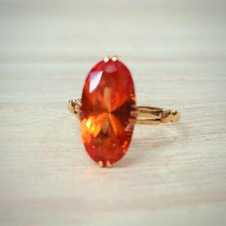 k18  合成オレンジサファイア リング アンティーク (リング(指輪))