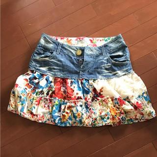 デシグアル(DESIGUAL)のデシグアル レディース デニムスカート 花柄 ミニスカート 38 9号(ミニスカート)