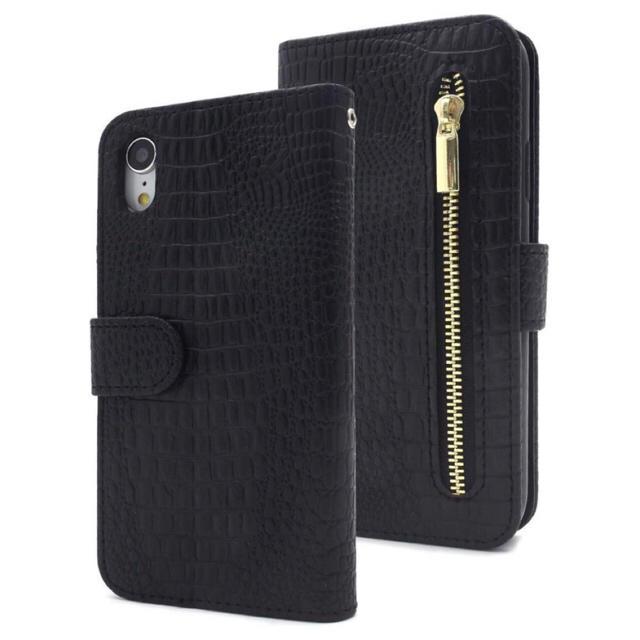 レザー iphone x ケース | iPhoneXR クロコダイル手帳型ケース ブラック 黒の通販 by iPhoneケース専門店's shop|ラクマ