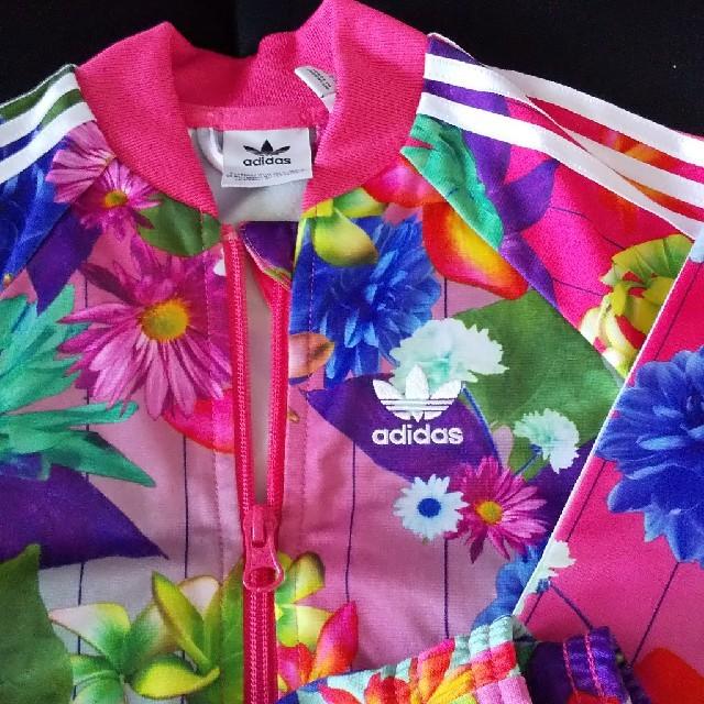 adidas(アディダス)のadidasセットアップジャージピンク花柄 キッズ/ベビー/マタニティのキッズ服 女の子用(90cm~)(ジャケット/上着)の商品写真