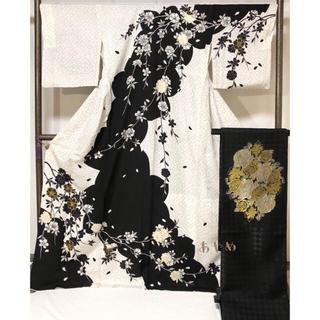 胴抜き仕立て 桜 薔薇 訪問着とリバーシブル袋帯のセット(着物)