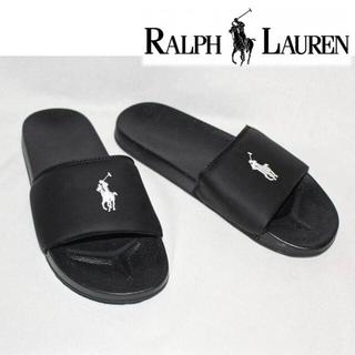 ポロラルフローレン(POLO RALPH LAUREN)の《ポロ ラルフローレン》シャワーサンダル ロゴ刺繍 黒 (24cm)(サンダル)