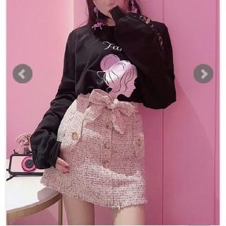 ボボンニジュウイチ(Bobon21)のウエストリボンツイードスカート(ミニスカート)