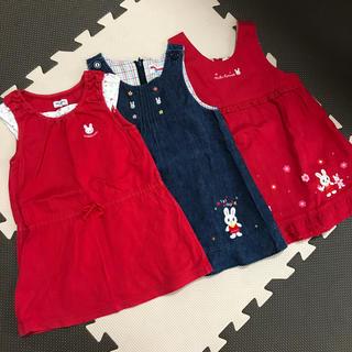 ミキハウス(mikihouse)のミキハウス ワンピース ジャンパースカート 90 3枚セット(ワンピース)