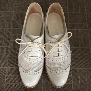 ダイアナ(DIANA)のDIANA ダイアナ レースアップシューズ ウィングチップ おじ靴 ホワイト 白(ローファー/革靴)
