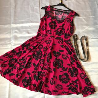 ◆格安◆インポート◆ドレス◆総薔薇Aラインミニドレス◆ベルト付き☆ピンク黒(ミニドレス)