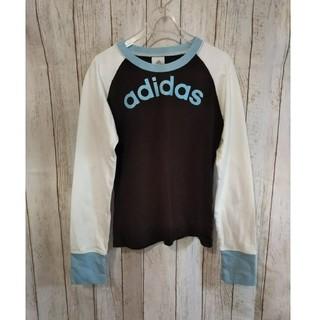 アディダス(adidas)のアディダス ロゴ ロンT ロングTシャツ 美品 長袖 Sサイズ ブラウン×ブルー(Tシャツ(長袖/七分))