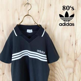 アディダス(adidas)の80's adidas ゴールドタグ ボーダースリーストライプ  ゲームシャツ(Tシャツ/カットソー(半袖/袖なし))