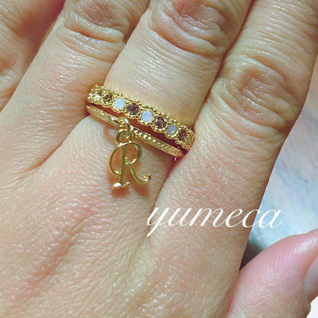 華奢イニシャルとスワロ2連リング💍♥️ レディースのアクセサリー(リング(指輪))の商品写真