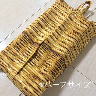 ハーフ ボックスティッシュケース ☆マリメッコドット風 ブラック(インテリア雑貨)