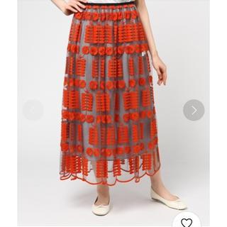 プープレ(peu pres)のpeu pres  エリカ刺繍ロングギャザースカート オレンジ(ロングスカート)