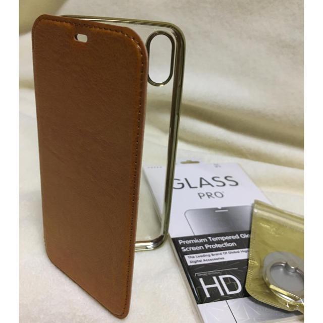iPhone XR ケース 手帳型 背面透明 茶 ブラウンの通販 by かきのたね's shop|ラクマ