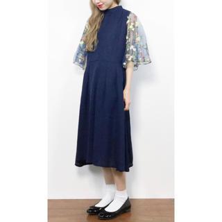 bd897c60a788f メルロー(merlot)の花刺繍レース袖ワンピース(ミディアムドレス)