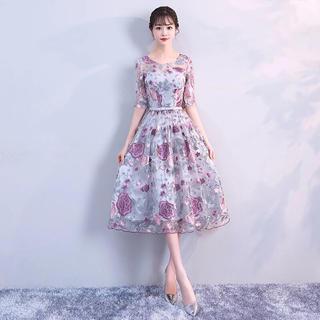 f0e990971d847 新品タグ付き☆パーティドレス 花柄刺繍 シースルー(ミディアムドレス)