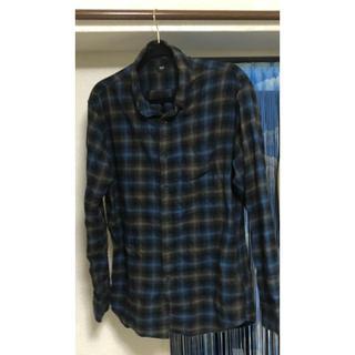 ユニクロ(UNIQLO)のシャツ ワイシャツ ネルシャツ ブルー ネイビー XL 大きいサイズ(シャツ)
