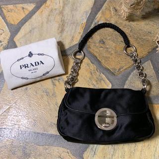 65d53ffa5912 プラダ(PRADA)のプラダ PRADA サテン×レザー ミニバッグ/パーティバッグ(