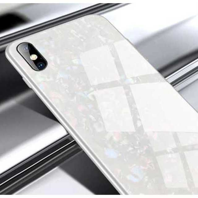 スマホケース iphone ホワイト ガラスシェル キラキラ 高級感 光沢 保護の通販 by POKES ポータブルケース ラクマ店|ラクマ