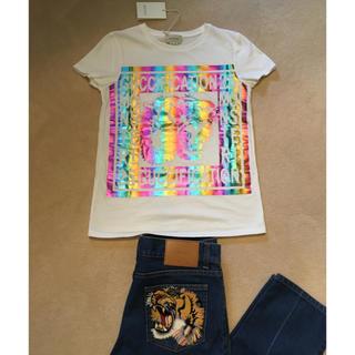 グッチ(Gucci)の新品!GUCCI グッチキッズ 新作 レインボー ロゴ Tシャツ ホワイト(Tシャツ/カットソー)