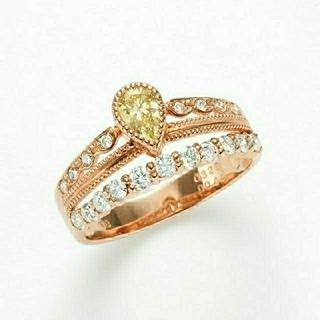 リング ダイヤ 指輪 イエロー k18ピンクゴールド ペアシェイプ ティアラ(リング(指輪))