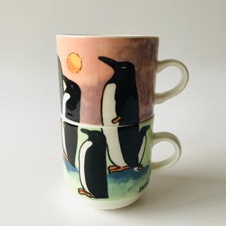 アラビア(ARABIA)のヘルヤ ペンギン マグカップ 2個セット スタッキング アラビア イッタラ(グラス/カップ)