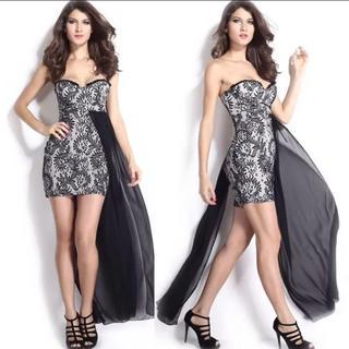 ラスト◆新品◆インポート◆白黒レースミニ+テール付きドレス◆(ミニドレス)