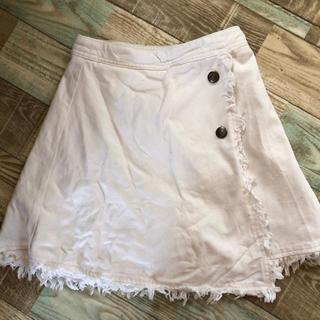 ピンクラテ(PINK-latte)のピンクラテ♡巻きスカート風デニムスカパン♡サイズXS(150)♡ホワイト(スカート)