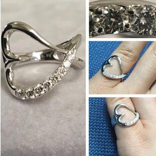 K18WG 綺麗なダイヤ ハート ピンキーリング(リング(指輪))