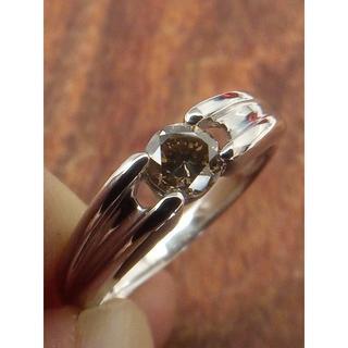 使いやすいアースカラー!Pt900ブラウンダイヤリング 15号(リング(指輪))