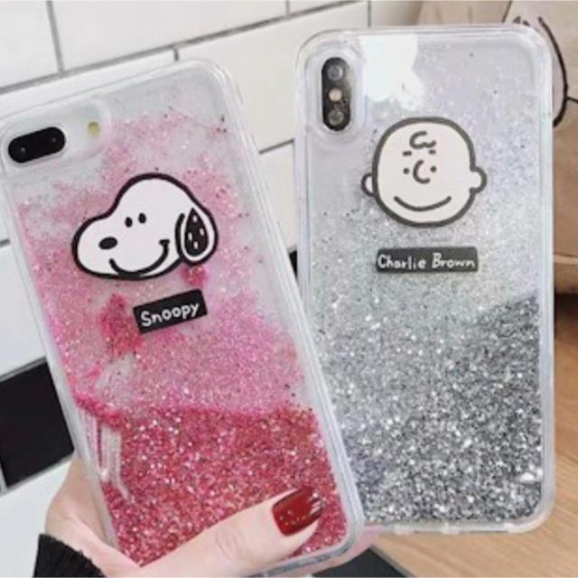 スヌーピーとチャーリーブラウングリッター iPhoneケースの通販 by さゆ's shop|ラクマ