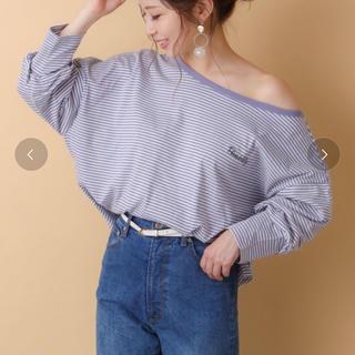 フーズフーチコ(who's who Chico)の五分袖ボーダー胸刺繍ワンショルダーロンT(Tシャツ(長袖/七分))