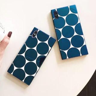 マリメッコ(marimekko)の新品 ドット ミラー 水玉 ネイビー 北欧 マリメッコ iPhoneケース(iPhoneケース)