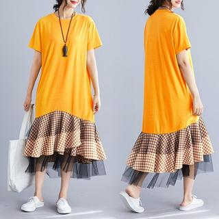 【即購入OK】大きいサイズ  フリル裾ワンピース (ひざ丈ワンピース)