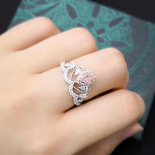 Gia0.34ctFLBPピンクダイヤモンド王冠指輪(リング(指輪))