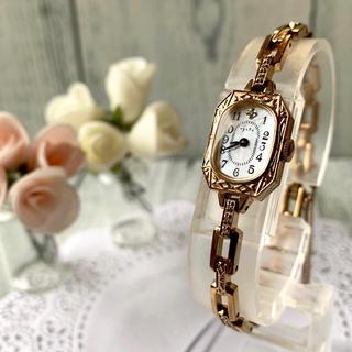 アガット(agete)の【希少】agete アガット 腕時計 0.041ct ゴールド スクエア(腕時計)