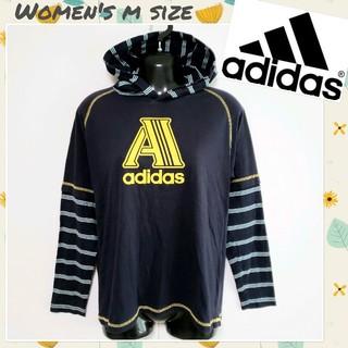 アディダス(adidas)の♡adidas♡フェイクレイヤードTシャツ ボーダー柄 ビッグロゴ Mサイズ相当(Tシャツ(長袖/七分))