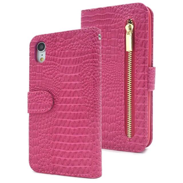 iPhoneXR クロコダイル手帳型ケース ピンク の通販 by tomo's shop|ラクマ