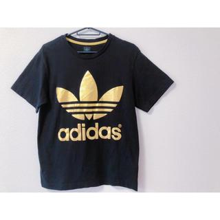 アディダス(adidas)の美品*adidas 黒×ゴールドTシャツ M(Tシャツ/カットソー(半袖/袖なし))