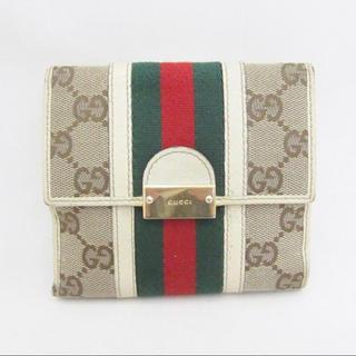 9e361bec52eb グッチ(Gucci)のGUCCI シェリーライン Wホック キャンバス×レザー 財布 二つ折り