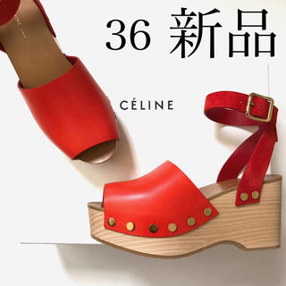 セリーヌ(celine)の新品36 CELINE セリーヌ フィービー デザイン ウッドソール サンダル(サンダル)