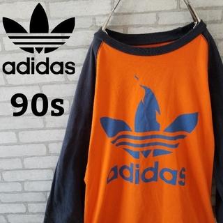 アディダス(adidas)の【90s】アディダス 七分丈 リンガーネック tシャツ 一点物  個性的(Tシャツ(長袖/七分))