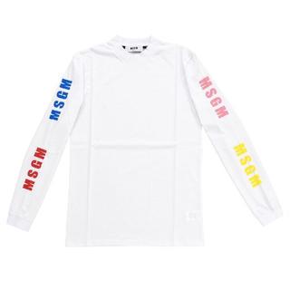 エムエスジイエム(MSGM)の新品 エムエスジーエム Tシャツ 長袖 ロンT ホワイト MSGM タグつき(Tシャツ/カットソー(七分/長袖))