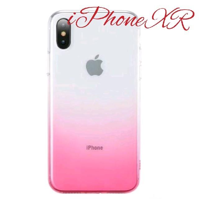 iPhone XR用 スリムシリコンカバー  クリアー&ピンクの通販 by くろねこmoon|ラクマ