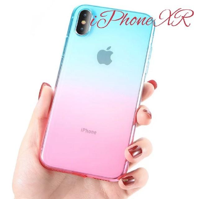 スマホケース iphone8 アイ フェイス | iPhone XR用 スリムシリコンカバー ライトブルー&ピンクの通販 by くろねこmoon|ラクマ