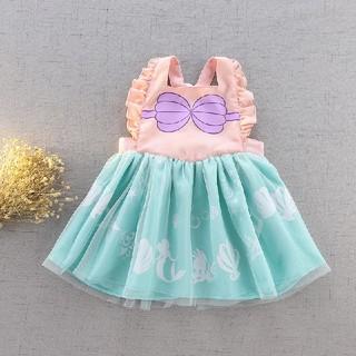 子供ドレス エプロン アリエル プリント 人魚姫 プリンセス お姫様 コスプレ(ワンピース)