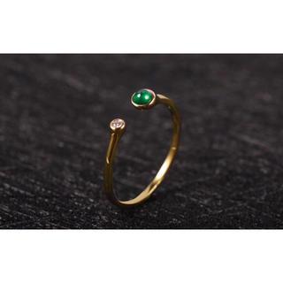新品 エメラルド  ダイヤモンド  K18(リング(指輪))